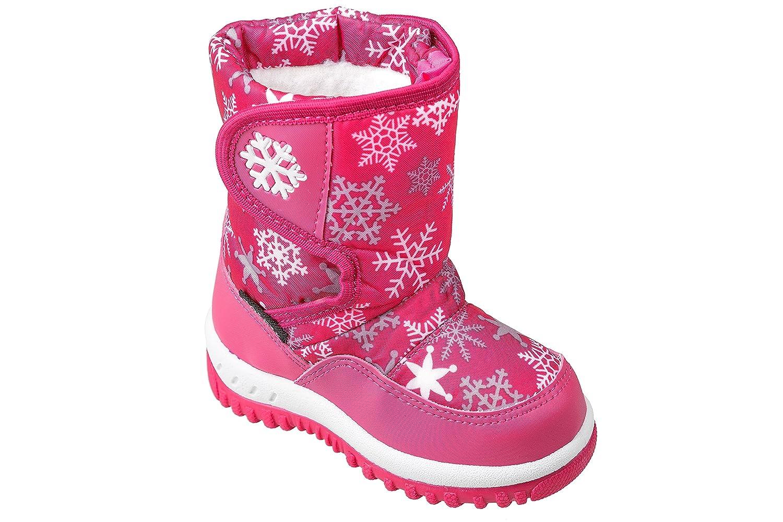 Gibra ® bottes d'hiver pour enfant, avec doublure chaude, fermeture velcro, rose, taille 22–27 taille 22-27