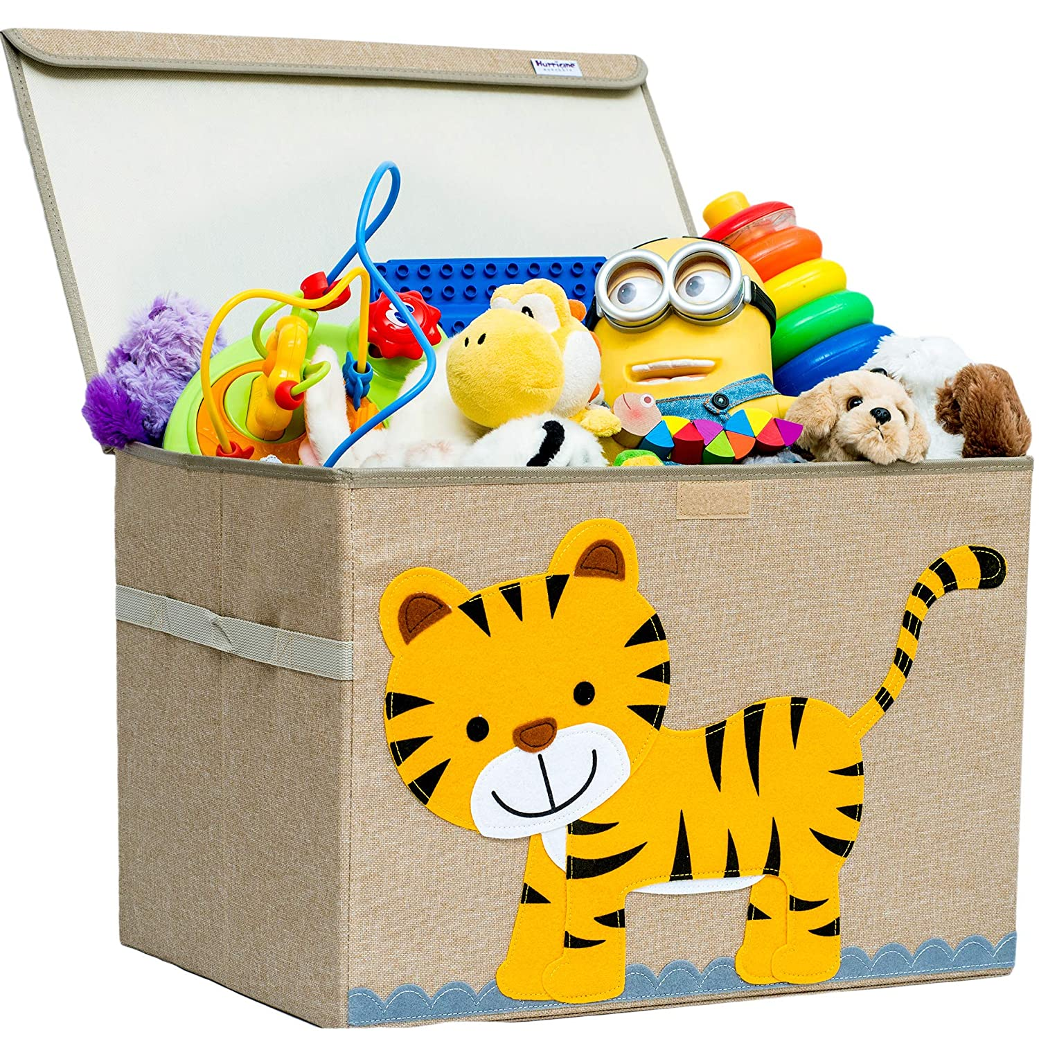 Hurricane Munchkin Large Toy Chest Plush Toys Elephant Canvas Soft Toy Basket Bin Organizer with Lid for Children Books and Clothes| Kids Storage Toy Box for Boys Girls |Measures 14x 15 x 21