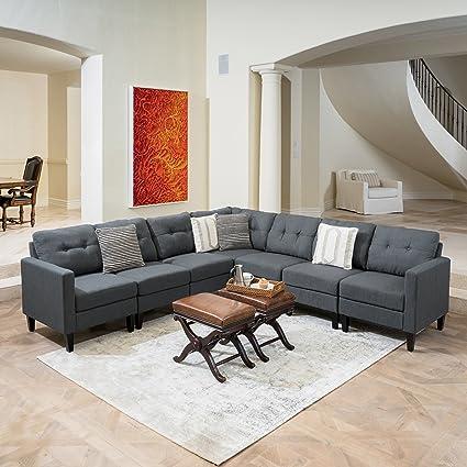 Merveilleux Great Deal Furniture Emma Mid Century Modern 7 Piece Dark Grey Fabric  Extended Sectional Sofa