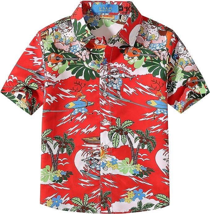 SSLR Camisa Hawaiana Tropical Estampado Navideño Papá Noel 3D Casual para Niño: Amazon.es: Ropa y accesorios