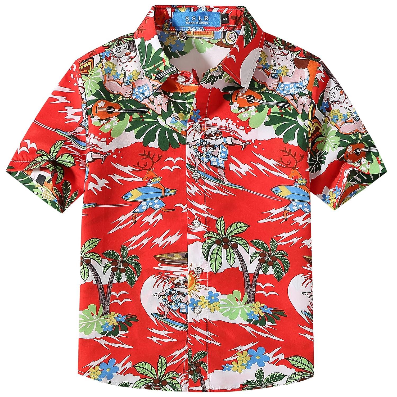 SSLR Big Boys' Santa Claus Party Tropical Ugly Hawaiian Christmas Shirts SN-AFD118-9