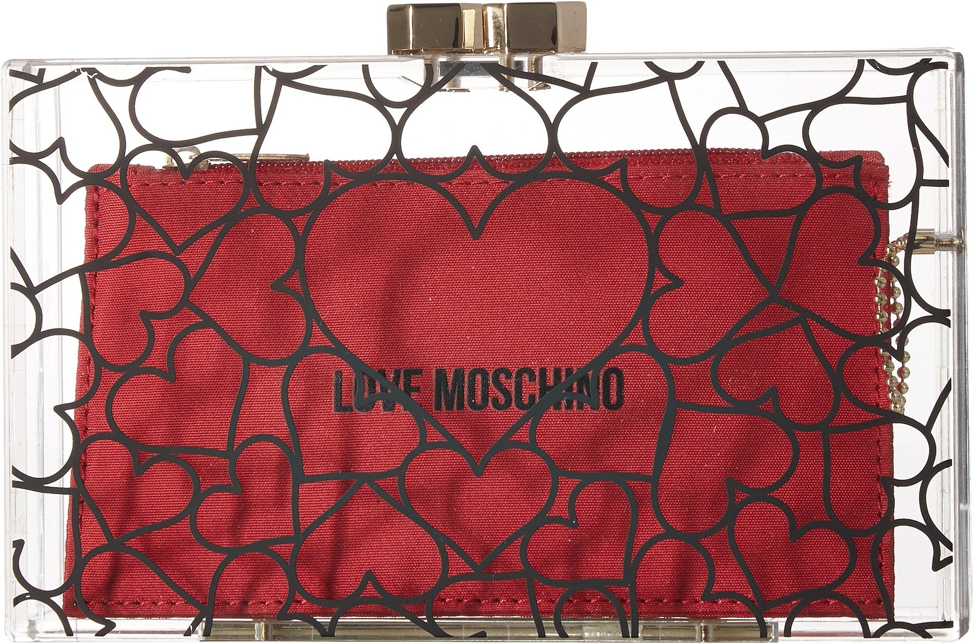 LOVE Moschino Women's Clear Evening Clutch Clear/Red One Size