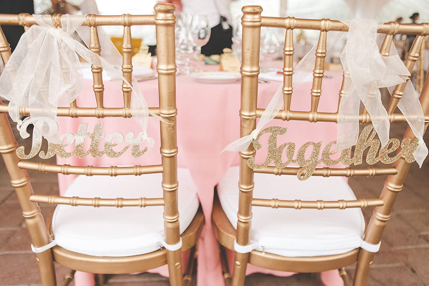 """B016QUH20I Wedding Chair Signs """"Better Together"""" Signs, Hanging Chair Signs for Wedding Chair Decor for Bride and Groom (Item - CHB100) 91jheQ28WkL"""