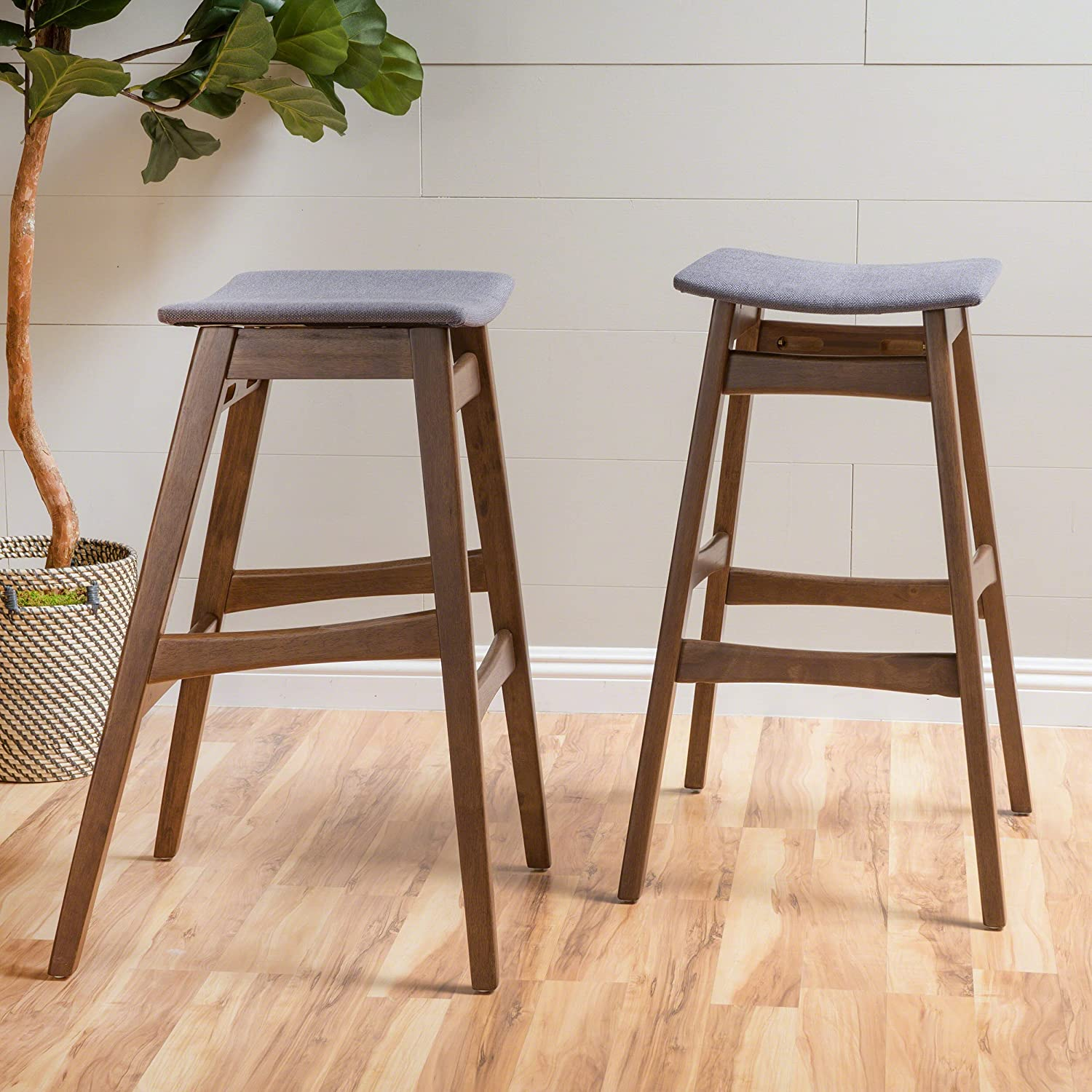 Oster Mid-Century Oxford Grey Fabric/Walnut Finish Bar Stool (Set of 2)