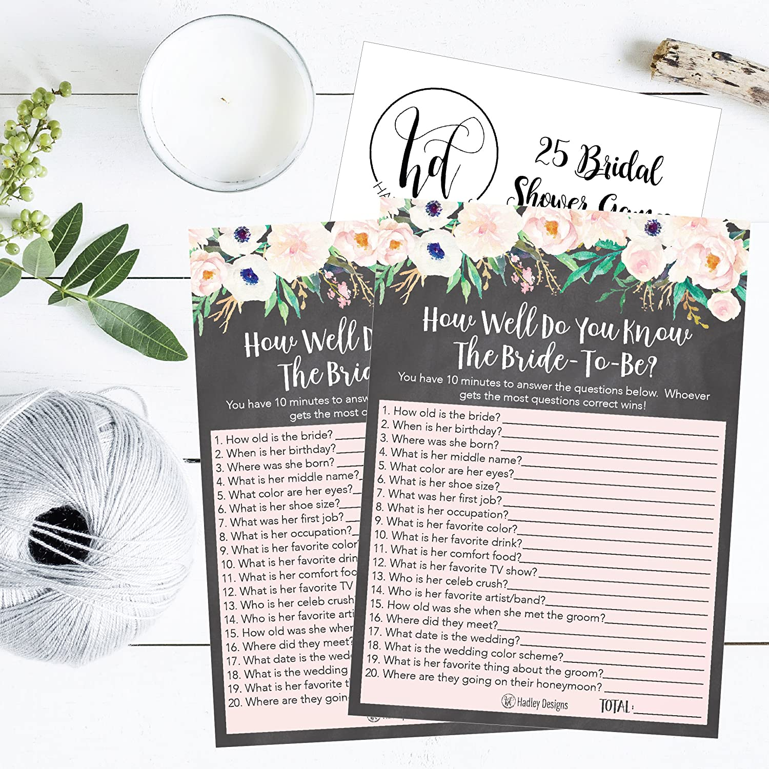 amazoncom 25 floral how well do you know the bride bridal wedding shower or bachelorette party game flowers who knows the best does the groom