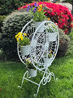 Iron Ferris Wheel Plant Stand with 5 Pots Planters Flower Garden