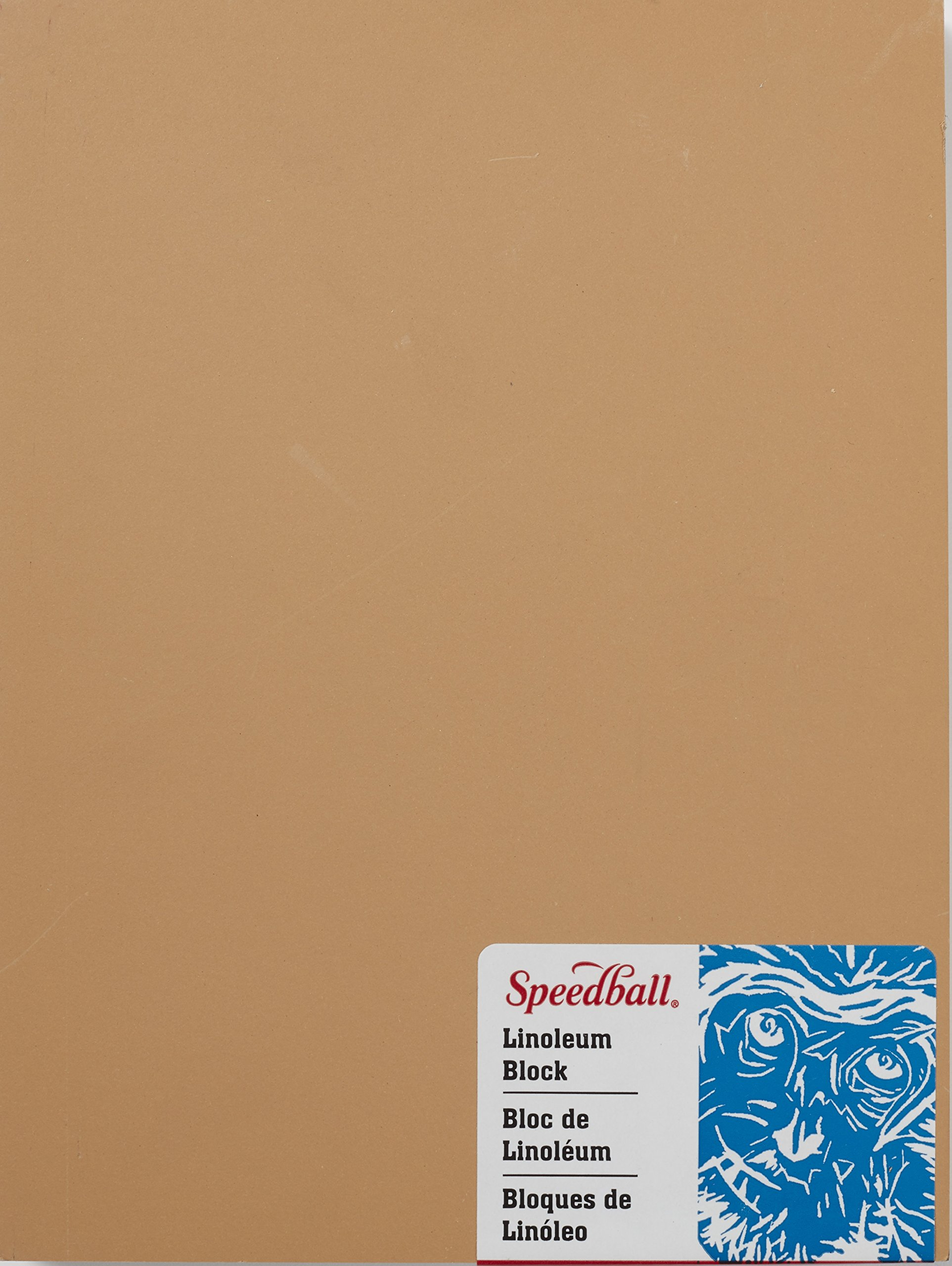 Speedball 4311 Premium Mounted Linoleum Block - Fine, Flat Surface for Easy Carving, Smoky Tan, 6 x 8 Inches by Speedball