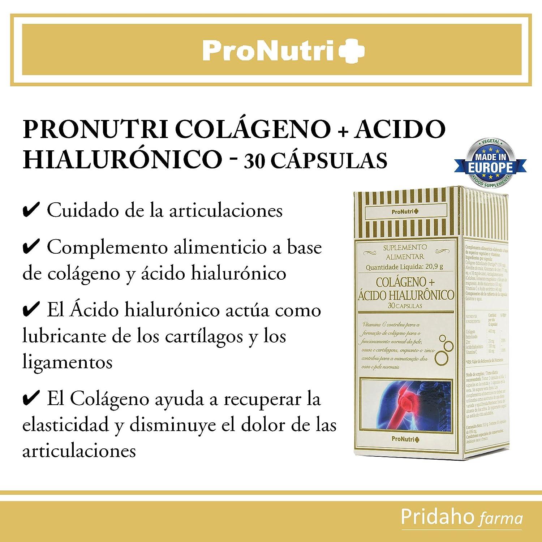 PRONUTRI - PRONUTRI Colágeno + Ácido Hialurónico 30 cápsulas: Amazon.es: Salud y cuidado personal