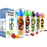 Live Infinitely 32 oz. Infuser Water Bottles - Featuring a Full Length Infusion Rod, Flip Top Lid, Dual Hand Grips & Recipe Ebook Gift