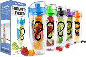 Live Infinitely 32 oz. Infuser Water Bottles - Featuring a Full Length Infusion Rod, Flip Top Lid, Dual Hand Grips & Recipe Ebook Gift (Blue, 32 oz)