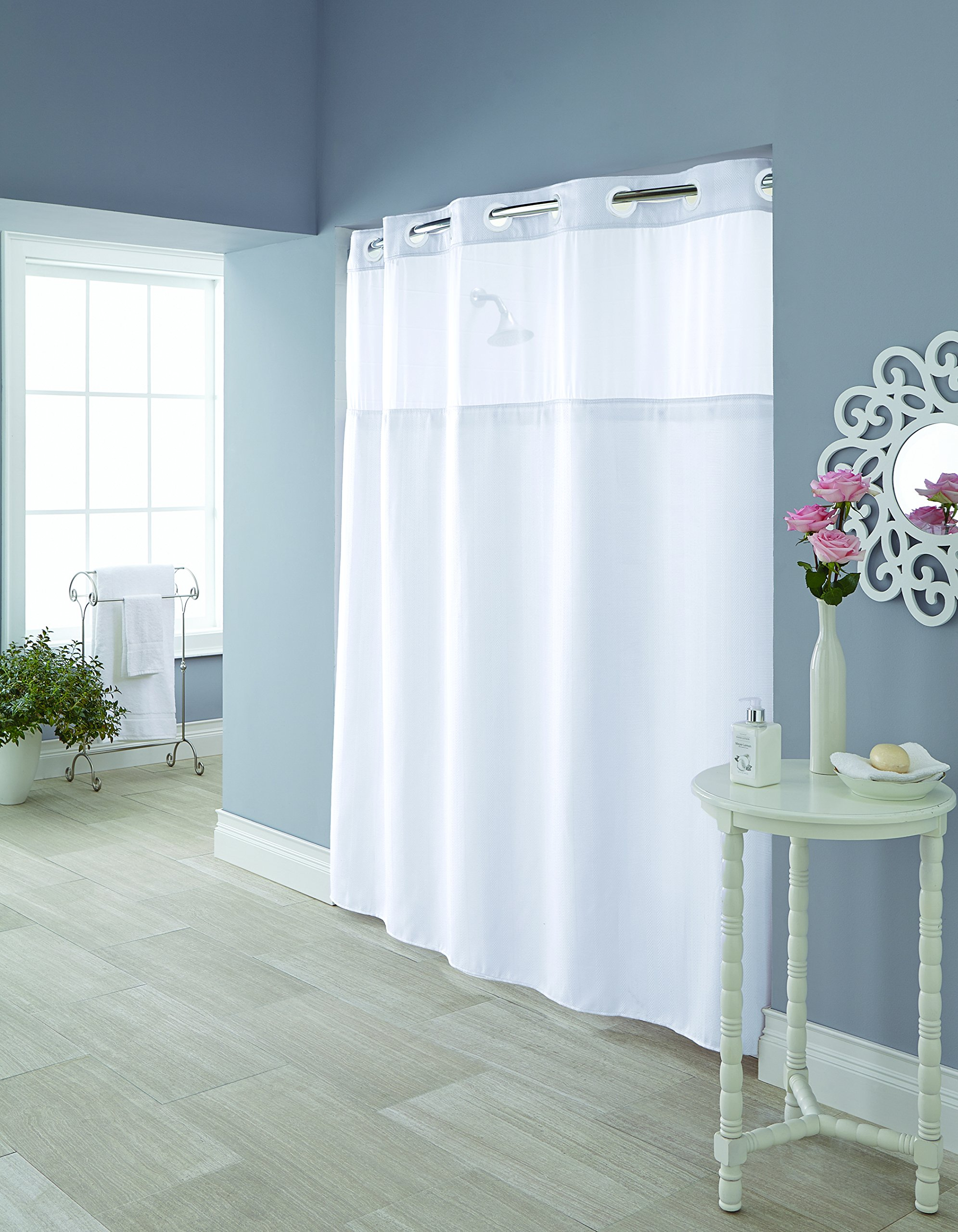 Hookless RBH95MY980 Hudson Herringbone Shower Curtain with Snap-In PEVA Liner - Bright White