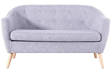 Amazon.com: Sofá de lino moderno gris con tapa., Madera ...