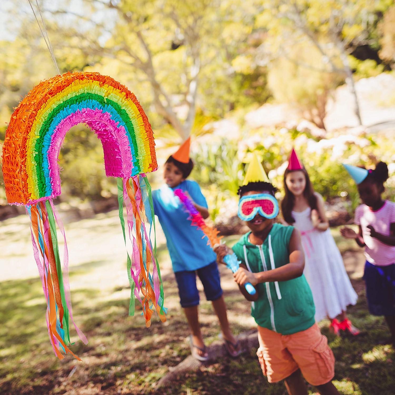 Birthday Decoration Colourful Fillable Pi/ñata Relaxdays 10025179 Rainbow Pinata Hanging Children/'s Paper Boys /& Girls
