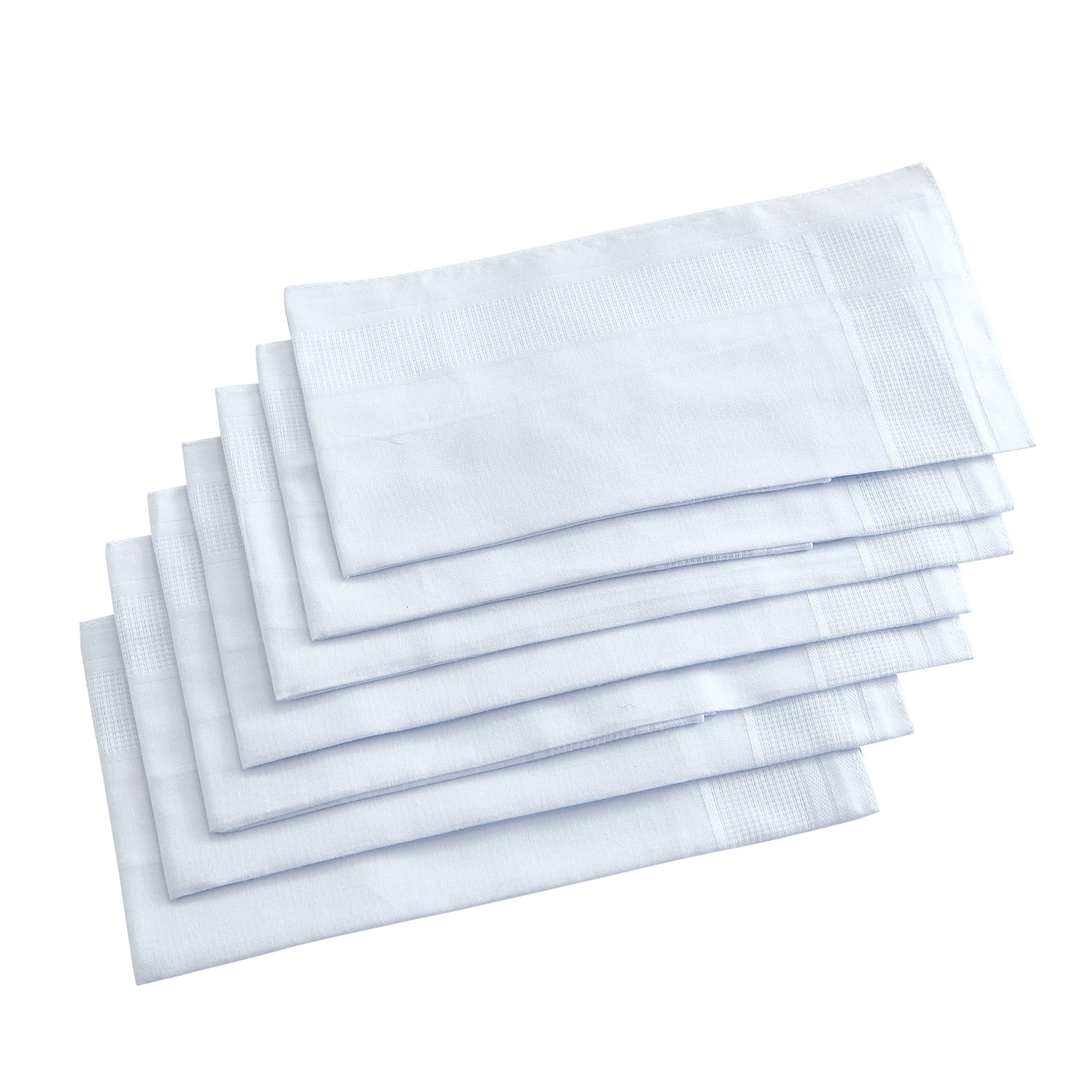 Pure Cotton Men's Handkerchiefs/Hankies with Hem White Pack of 12