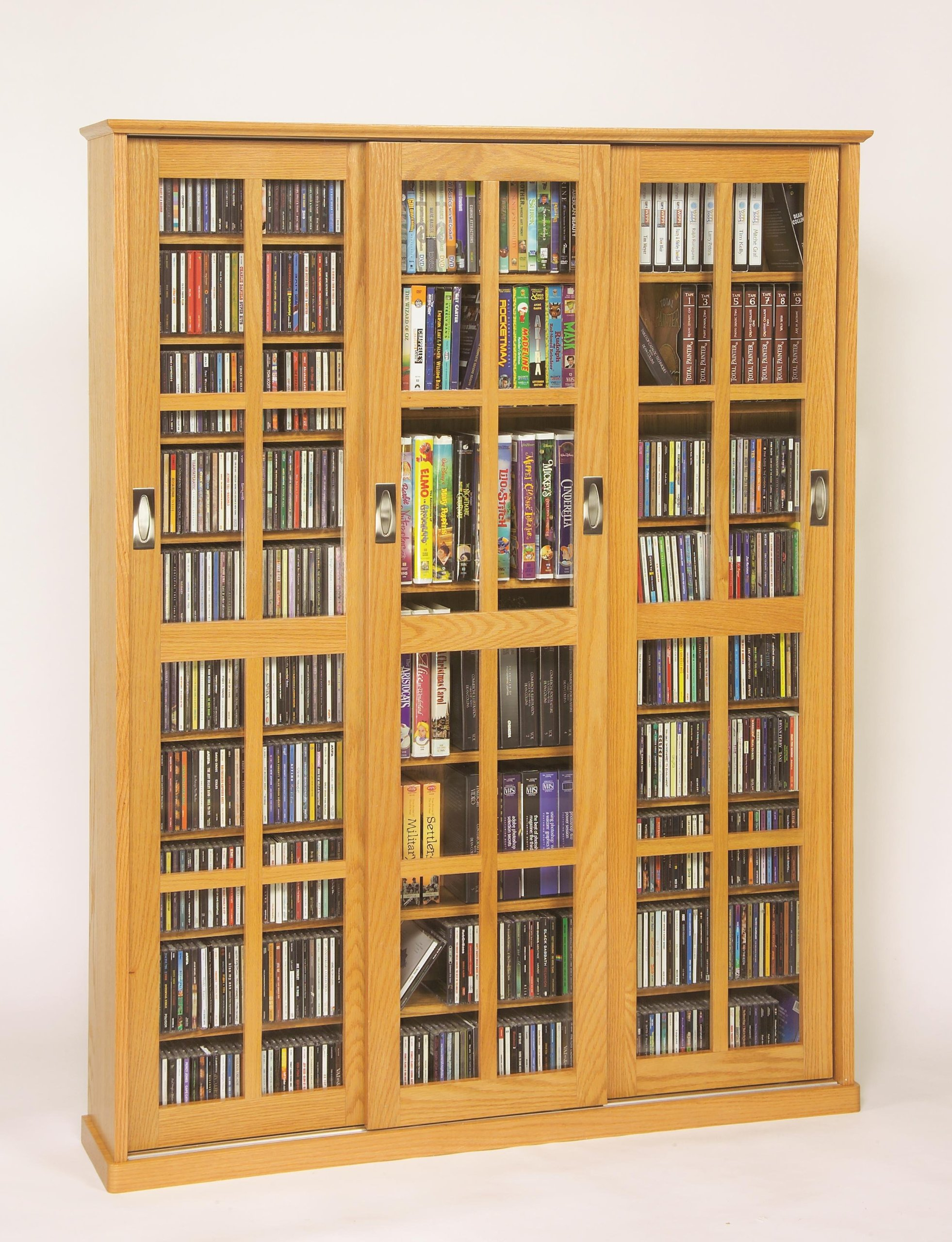 Leslie Dame 61'' Triple CD DVD Wall Media Cabinet in Oak by Leslie Dame