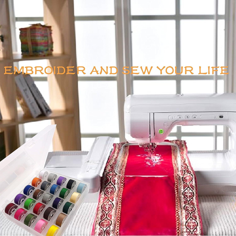 60WT New brothread 25pcs White 70D//2 Prewound Bobbin Thread Plastic Size A SA156 for Embroidery and Sewing Machines DIY Embroidery Thread Sewing Thread