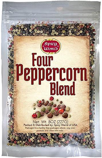 Four Peppercorn Rainbow Blend 8 oz - NON GMO, Steam Sterilized - Whole  Black, Green, White & Pink