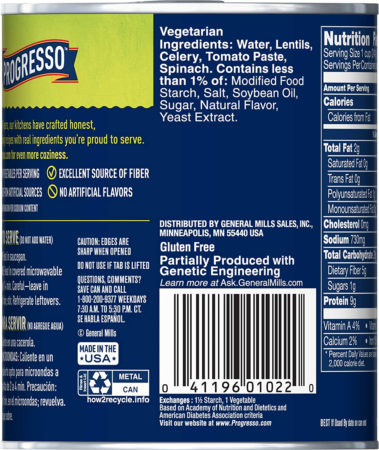 Progresso Soup, Vegetable Classics, Lentil Soup, 19 oz Can