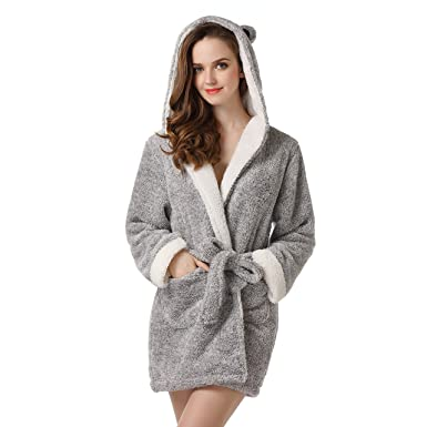 Richie house womens bathrobe robe with two ears uni size for s l richie house womens soft and warm bathrobe robe with ears rhw2498greysmall sciox Image collections