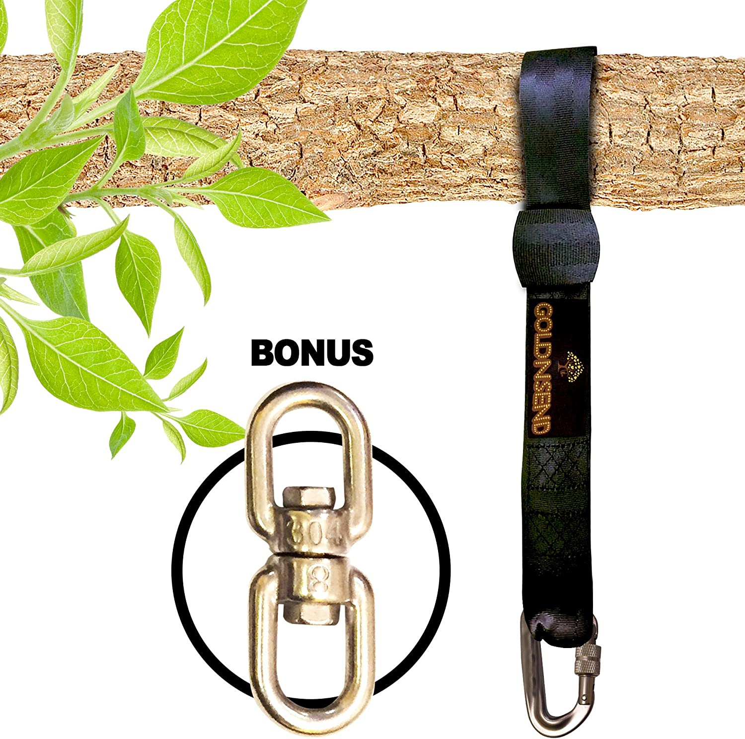 10 Ft Tree Swing Straps Hanging Kit for Outdoor Swing with Free Swivel Hook - New Extra Long10 Ft Strap Holds 2800 Lbs, Fast & Easy Way to Hang Any Swing Set 91jhu9jOUwL