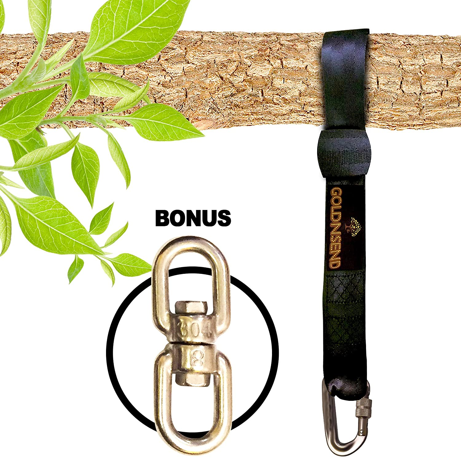 10 Ft Tree Swing Straps Hanging Kit for Outdoor Swing with FREE SWIVEL HOOK - New Extra Long10 Ft Strap Holds 2800 Lbs, Fast & Easy Way to Hang Any Swing Set Goldnsend - Click Image to Close