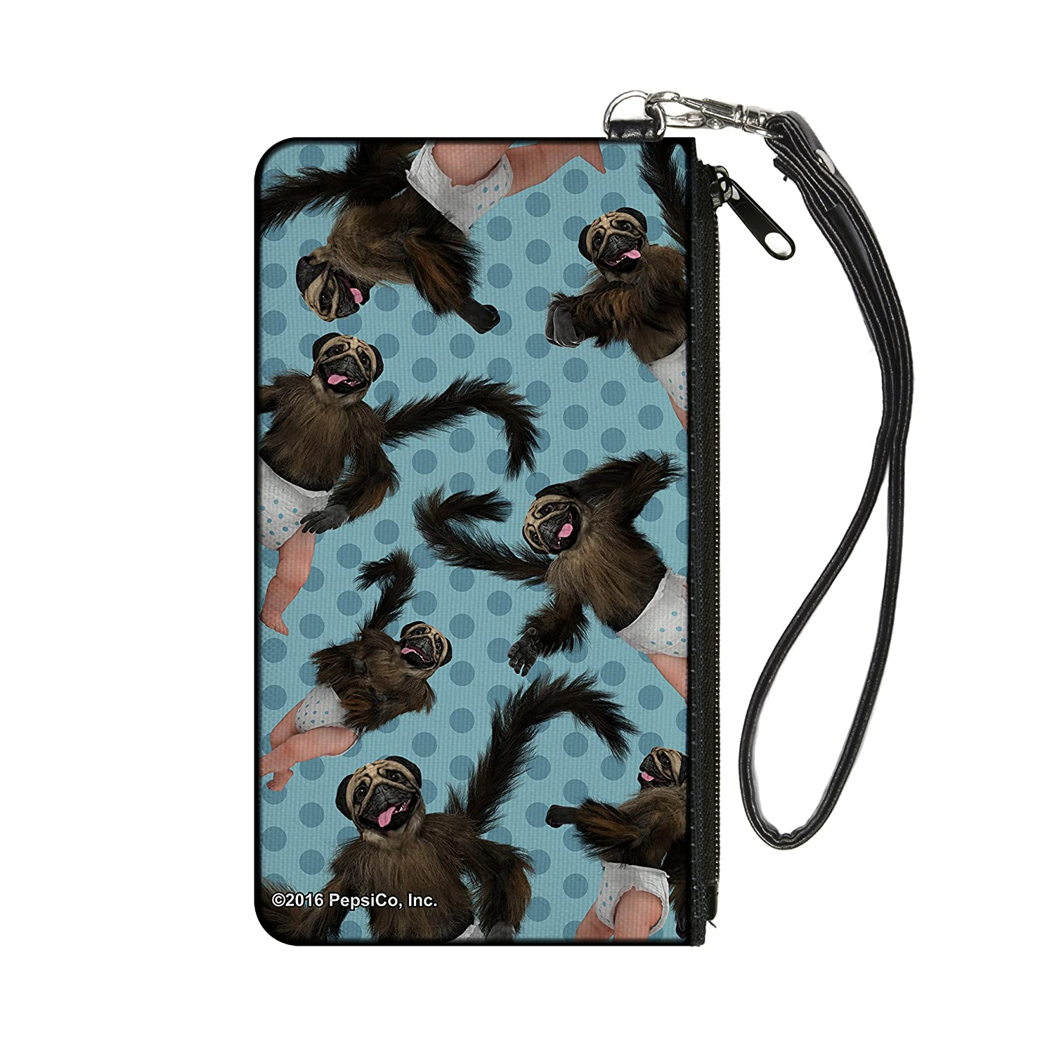 Puppymonkeybaby Poses Scattered Polka Dots Turquoise Blues Canvas Zipper Canvas Zipper Wallet Buckle-Down CZW-SM-PMBH