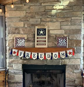 4th of July, Memorial Day Independence Day Decorations Bundle of Patriotic Decor Include 2 God Bless America Signs, Freedom Banner, and Friends Family Freedom Sign