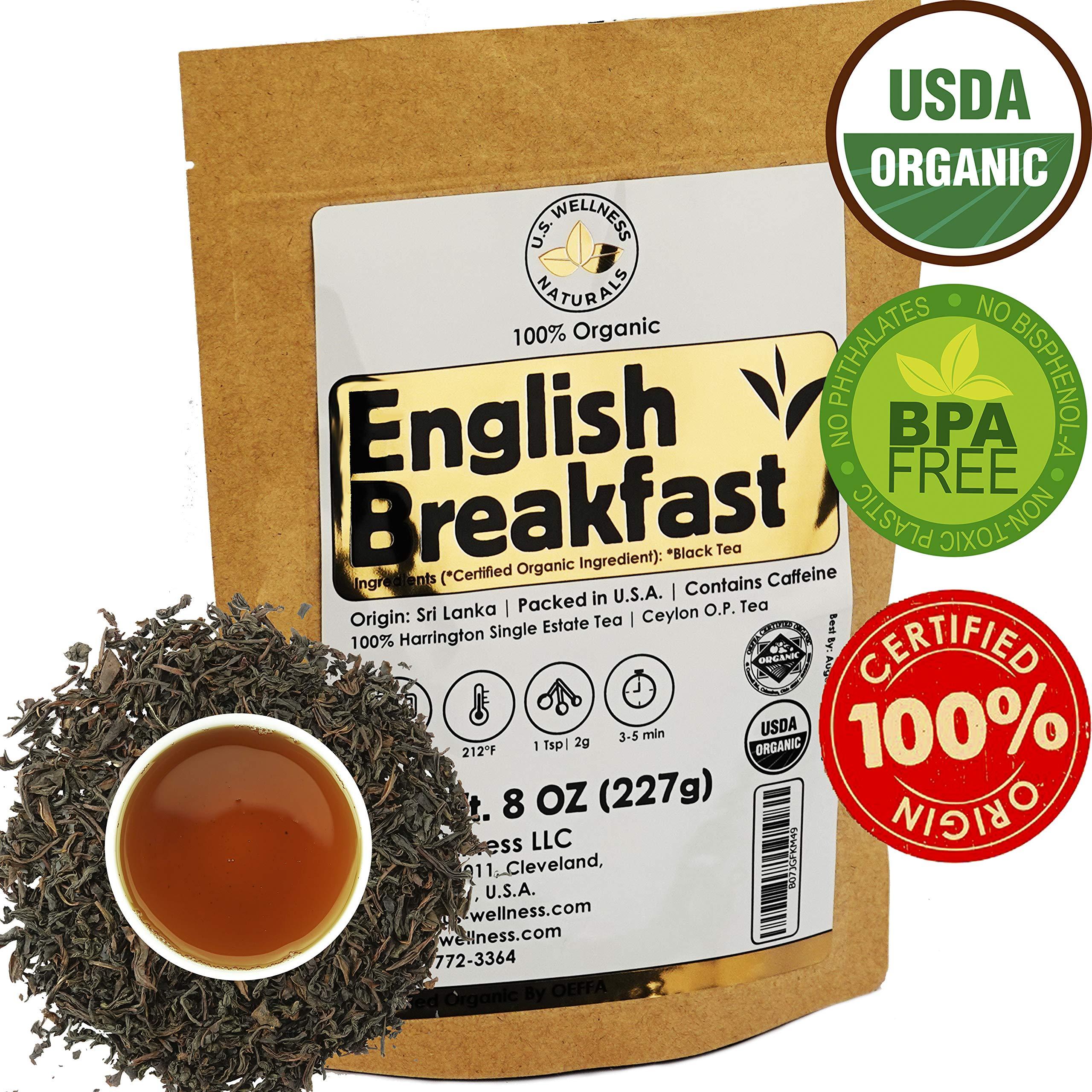 English Breakfast Tea, CRISP, RICH & AROMATIC well-rounded loose leaf tea, 110+ cups, 8oz Organic Ceylon SINGLE ESTATE tea, 100% Harrington estate, OP grade tea, U.S.A. Processed & Quality Control by U.S. Wellness Naturals