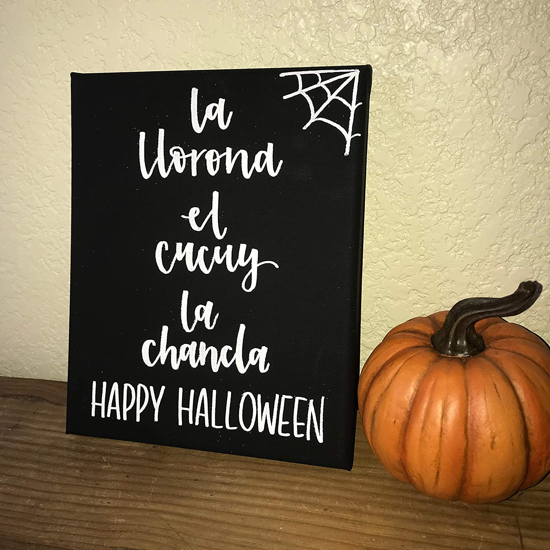Amazon Com Halloween Sign Custom Spanish Halloween Sign Fall Decor Home Decor Latino Bedroom Sign With Sayings Home Decor Plaque Home Kitchen