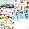 """Cartes d'anniversaire """"Hiboux drôles"""", 5 motifs peints avec amour, chacun 2 cartes postales format DIN A 6 (14,8 x 10,5 cm)"""