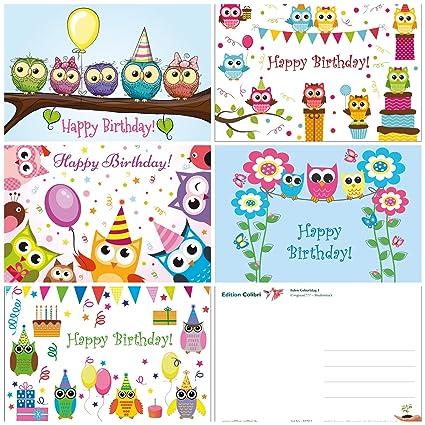 10 tarjetas de cumpleaños Búhos en 10 unidades (5 diseños x ...