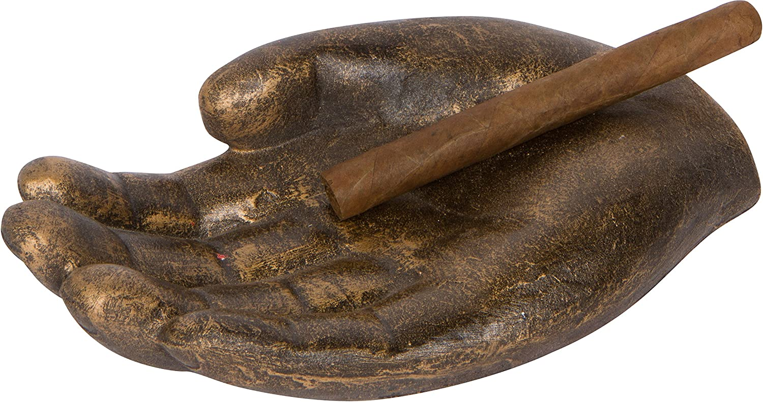 Metal Hand Shaped Cigar Holder and Ashtray By EZ Drinker Brown