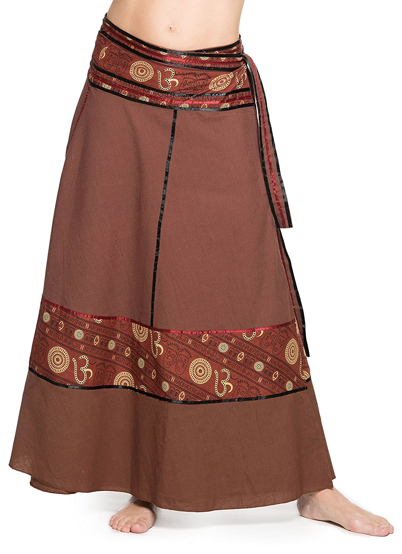 ufash Falda Cruzada - Falda Maxi de la India, con Lazos - Muchos diseños Diferentes
