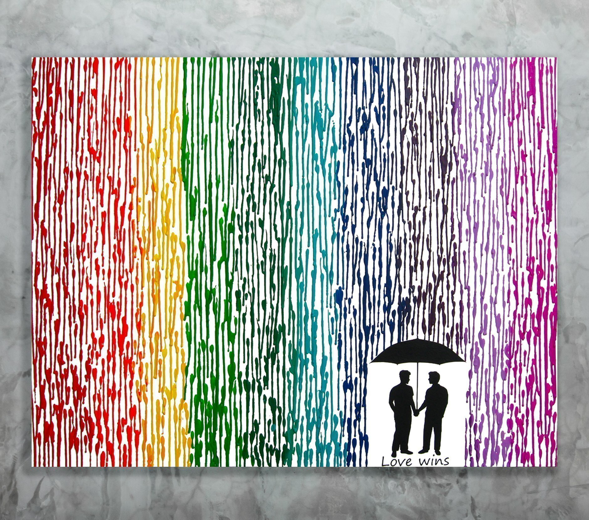 Gay Wedding Gift, 22x28 Melted Crayon Art Canvas Painting, Love Wins