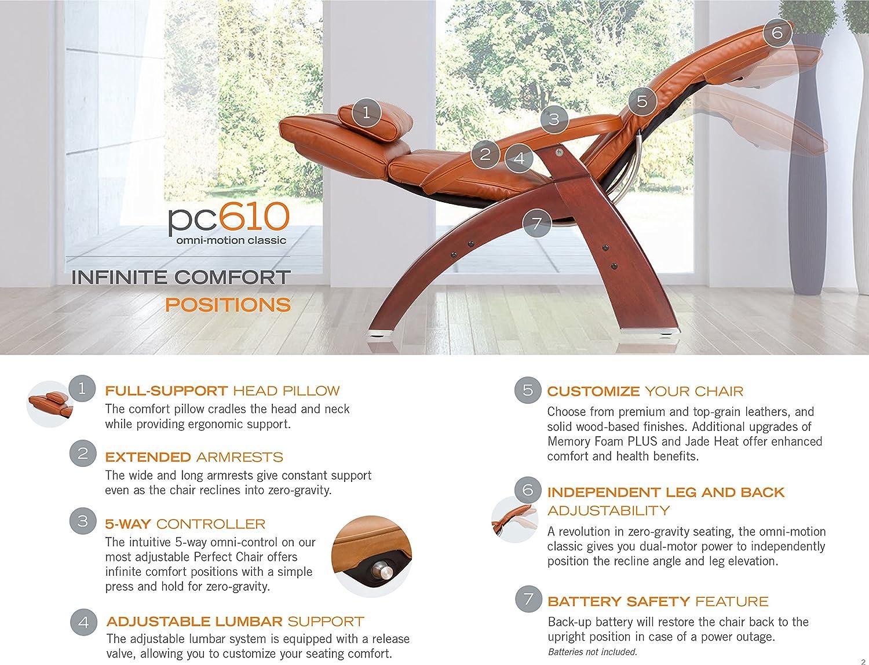 Amazon com perfect chair human touch pc 610 live power omni motion walnut zero gravity recliner premium leather fluid cell cushion memory foam jade heat