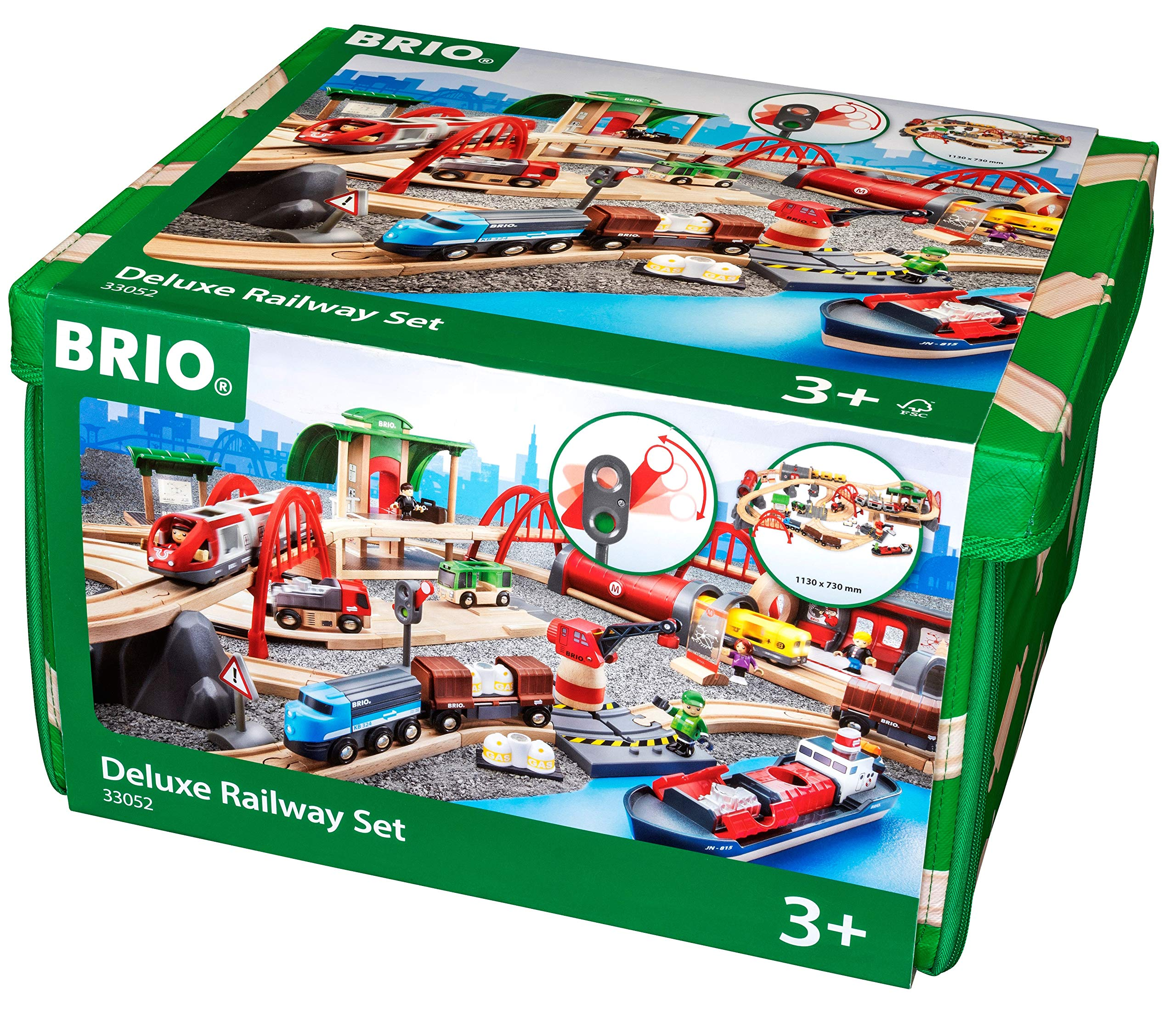 Brio World 33052 Deluxe Railway Set | Wooden Toy Train Set for Kids Age 3 and Up by Brio