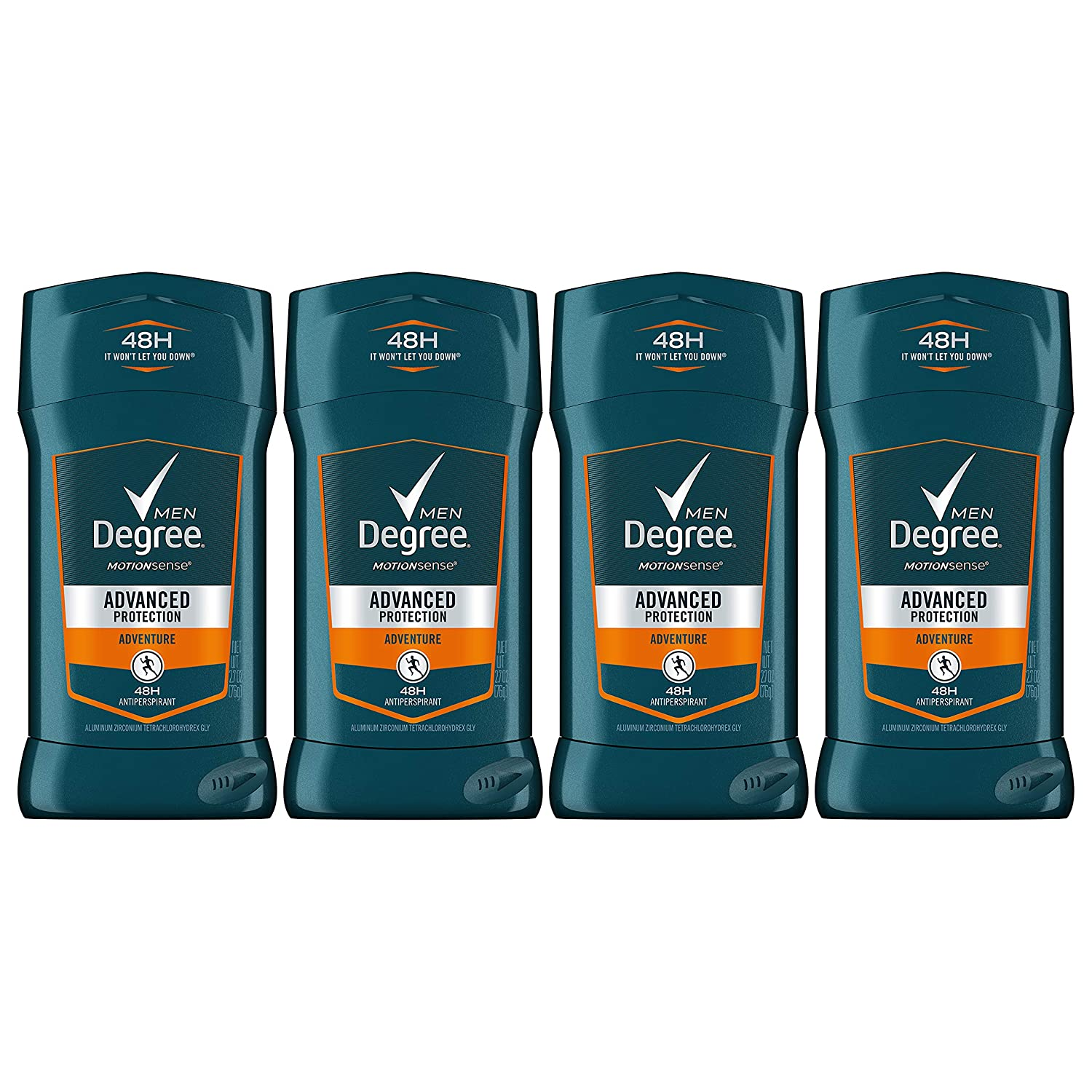 Degree Men 48-hour Antiperspirant Feel Fresh and Stay Dry Adventure with Deodorant to stop Odor and Wetness 2.7 oz -Pack of 4 : Degree Adrenaline : Beauty