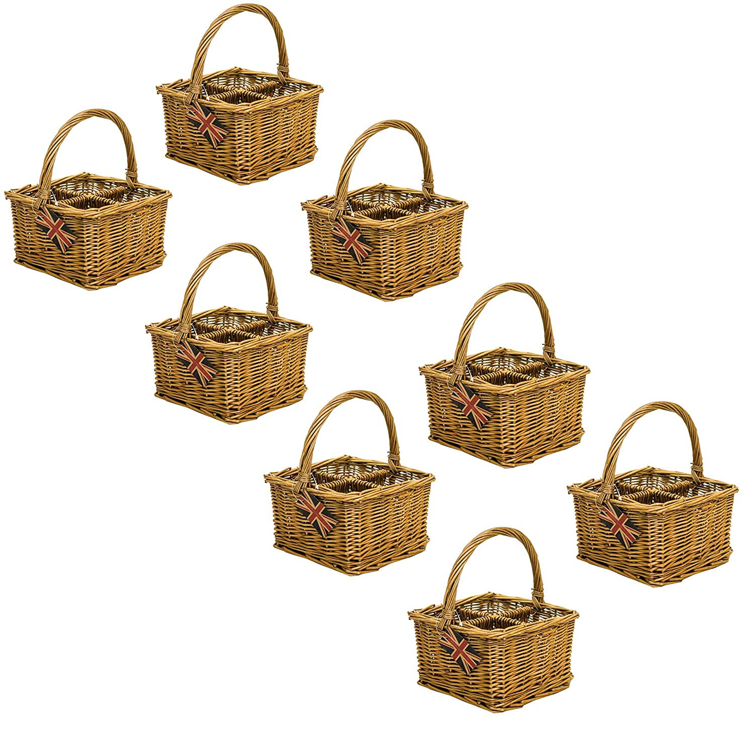 east2eden Handled Honey Wicker 4 Compartment Condiment Basket (Set of 4)