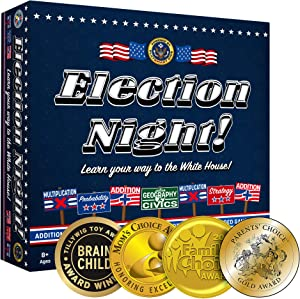 Election Night! Board Game - Winner of 2019 Parents Choice Gold Award. A Super Fun Way to Learn Essential Math, Geography and Civics While Strategizing Your Way to The White House.