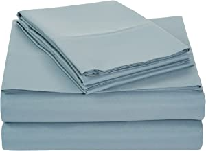 """AmazonBasics Lightweight Super Soft Easy Care Microfiber Sheet Set with 16"""" Deep Pockets - Queen, Spa Blue, 4-Pack"""