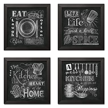 Beautiful, Fun, Chalkboard Kitchen Signs; Messy Kitchen, Heart of The Home, Spice of Life, and Cook Much; Four 12x12in Black Framed Prints; Ready to Hang!
