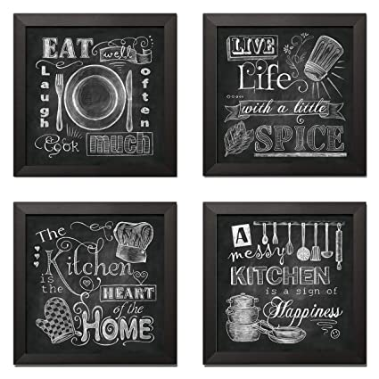 Beautiful Fun Chalkboard Kitchen Signs Messy Kitchen Heart Of The Home Spice Of Life And Cook Much Four 12x12in Black Framed Prints Ready To