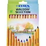 LYRA Waldorf Selection Giant Triangular Colored Pencil, Unlacquered, 6.25 Millimeter Cores, Assorted Colors, 12-Pack (3711121