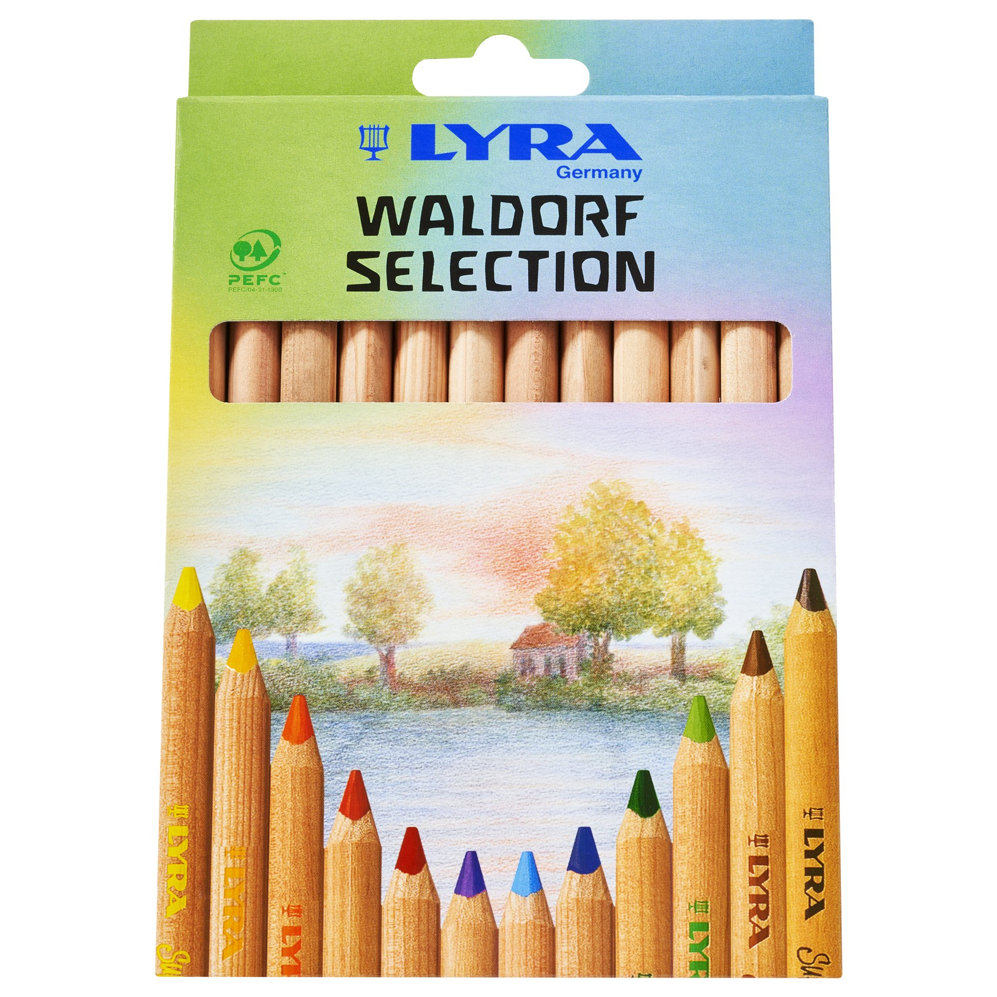 LYRA Waldorf Selection Giant Triangular Colored Pencil, Unlacquered, 6.25 Millimeter Cores, Assorted Colors, 12-Pack (3711121) by Lyra