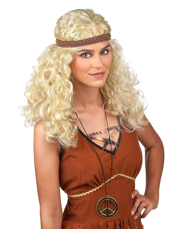 Peluca Hippie rubia mujer - Única: Amazon.es: Juguetes y juegos