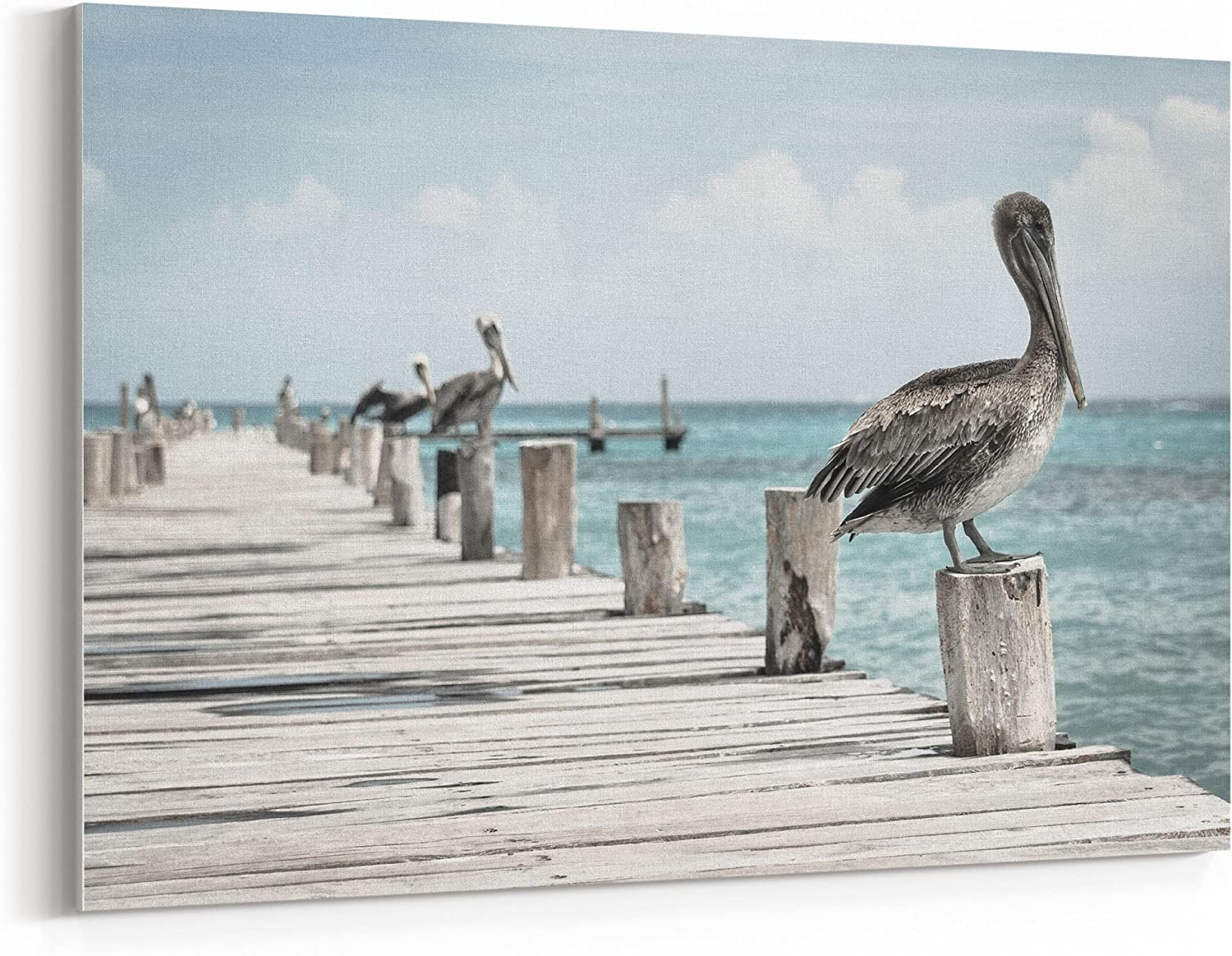 westlake art - Pier Pelican - Canvas Print Wall Art - Canvas Stretched Gallery Wrap Modern Picture Photography Artwork - Ready to Hang (24x36 Inch)