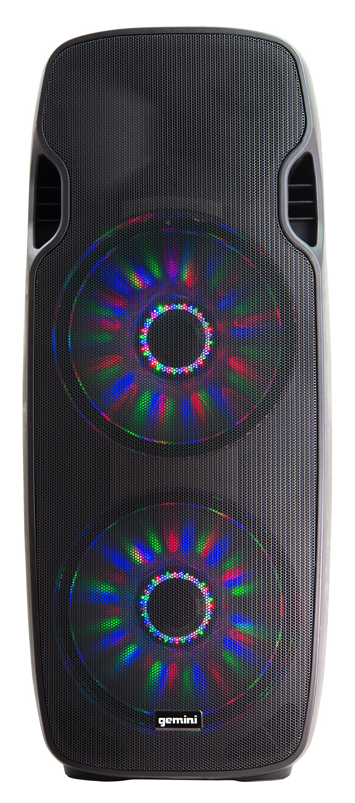 Gemini AS Series Professional Audio Dual 15-inch Portable Active PA Loudspeakers with Bluetooth Compatibility, Mic & Line XLR, 1/4'', 1/8'', RCA inputs by Gemini
