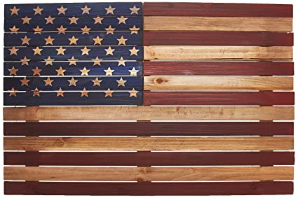 amazon com reflective art 24 x 16 us flag slat wood wall wall art