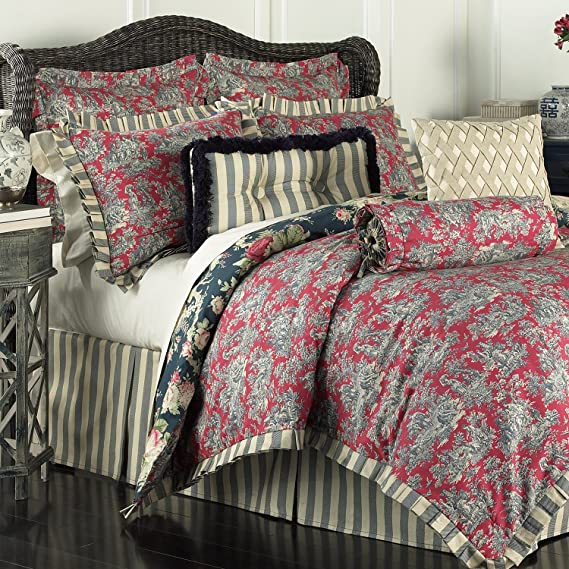 incredible Waverly Sanctuary Rose Part - 18: Amazon.com: Waverly 14922BEDDQUEHTB Sanctuary Rose 96-Inch by 92-Inch 4  Piece Queen Comforter Set, Heritage Blue: Home u0026 Kitchen