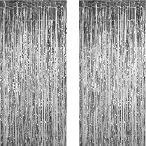 Funeez Foil Curtains (2-Pc. Set) Metallic Fringe Party Decoration | 3' X 8' | Doorway, Arch, Photo Booth, Celebration Backdrops | Great for Bachelorette, Baby Shower, Bridal Decorations (Silver)